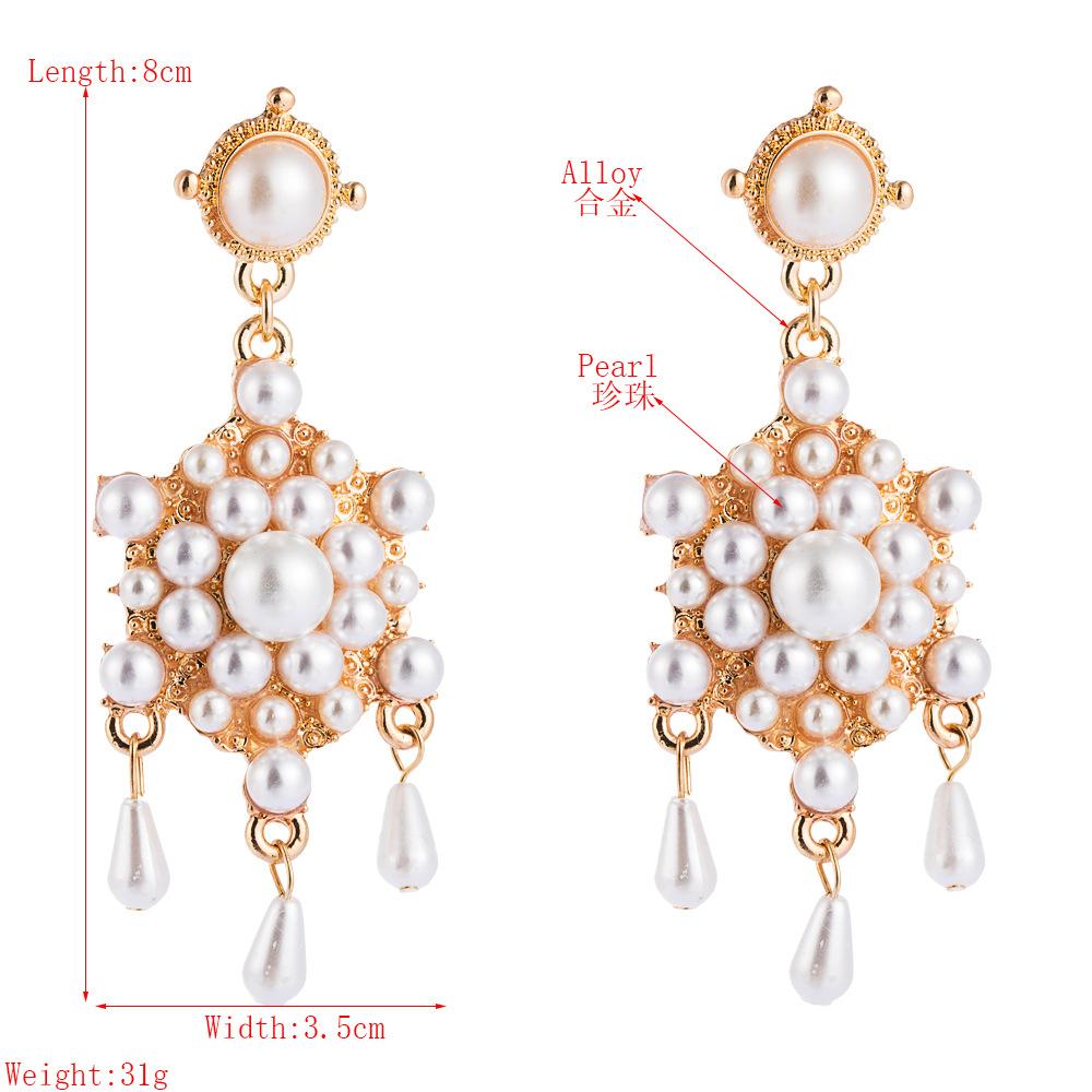 European and American temperament popular pearl earrings ladies multilayer alloy long tassel earrings fashion temperament Korean earrings NHLN190281