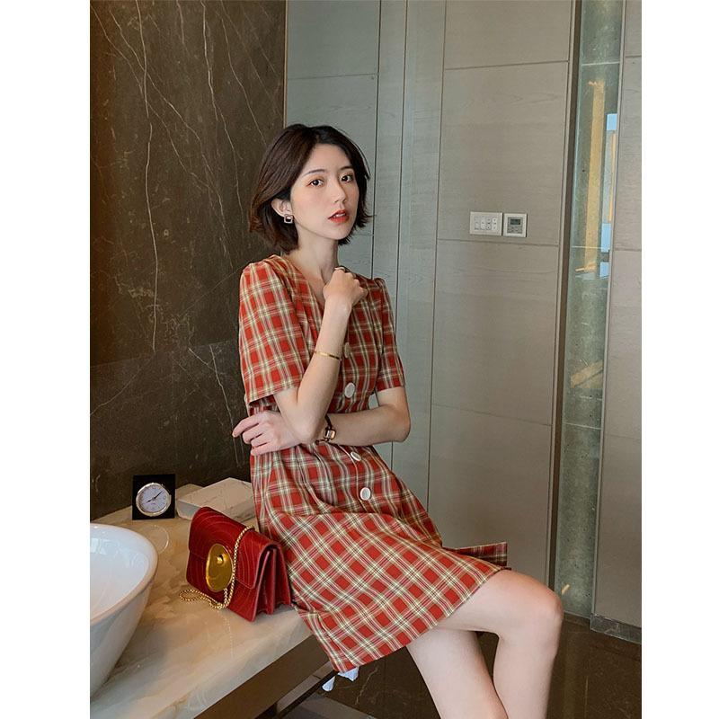 2019 红色格子连衣裙夏v领收腰智熏裙复古法式小众桔梗裙少女短裙