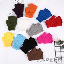 冬季保暖露指手套厂家批发 成人半指手套冬季无指针织半截手套