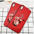 适用iPhone xs max 9G 6.5 刺绣手机壳 TPU软壳牡丹花红色手机壳