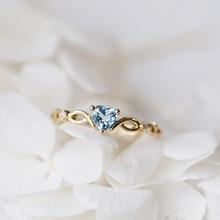 Yiyi muốn nhẫn mới nhỏ đơn giản hình trái tim tươi mới nhẫn đính hôn topaz xanh biển châu Âu và Mỹ Nhẫn