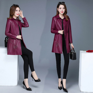 Women's leather clothing manufacturers Korean style autumn and winter mid-length lapels slim pu leather trench coat Women's large size leather coat
