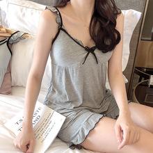 姿欣兒夏季女士睡衣短袖薄款休閑螺紋莫代爾坑條加胸墊套裝家居服
