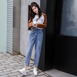 2021 spring new high-waist jeans female chic loose and thin students straight wide-legged daddy nine-point pants trend