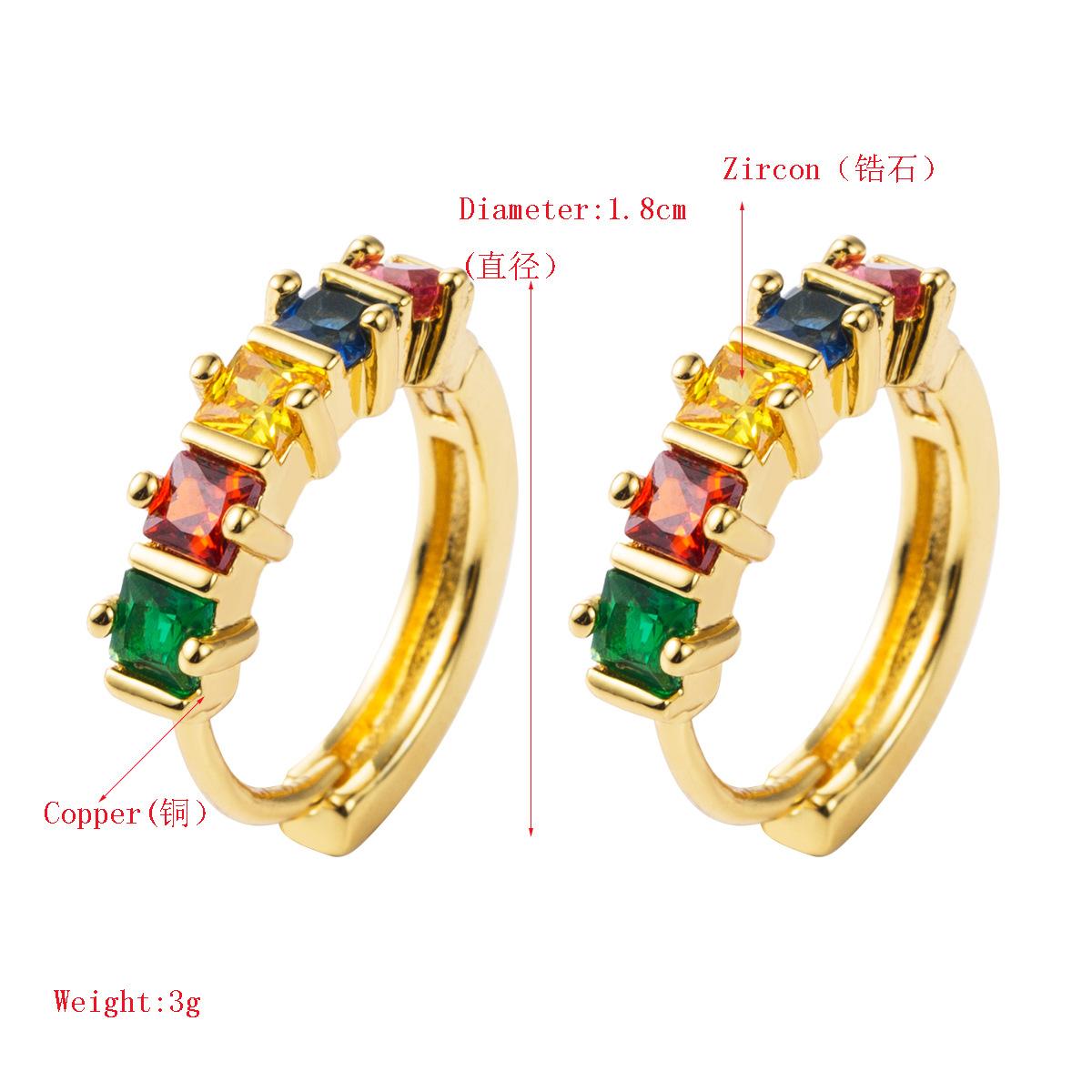Stylish temperament copper micro-inlaid colorful zircon full diamond earrings NHLN155102