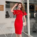 红色连衣裙2019秋装新款高端气质喇叭袖修身显瘦包臀中长款一步裙