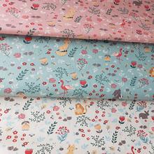 2020春夏新款純棉斜紋印花布 連衣裙小狐貍 床單被罩床品全棉布料