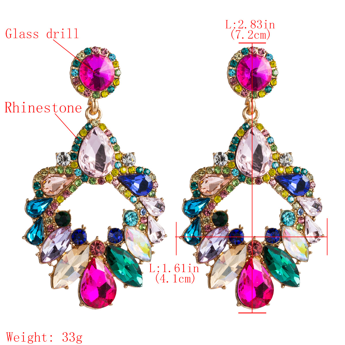 Fashion multi-layer drop-shaped rhinestone glass drill diamond geometric diamond earrings female super flash earrings NHJE174396