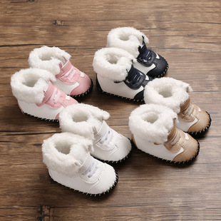 Winter new 0-1 year old baby toddler shoes soft rubber-soled non-slip baby shoes warm cotton shoes thickened snow boots
