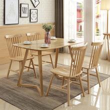 北欧实木长餐桌 现代简约时尚V?#28909;?#24335;白橡木餐桌椅组合厂家批发