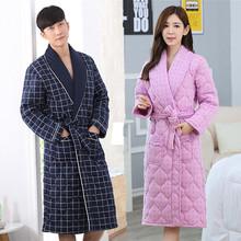 冬季男士纯棉夹棉家居服三层加厚加长款睡袍睡衣女款全棉保暖浴袍
