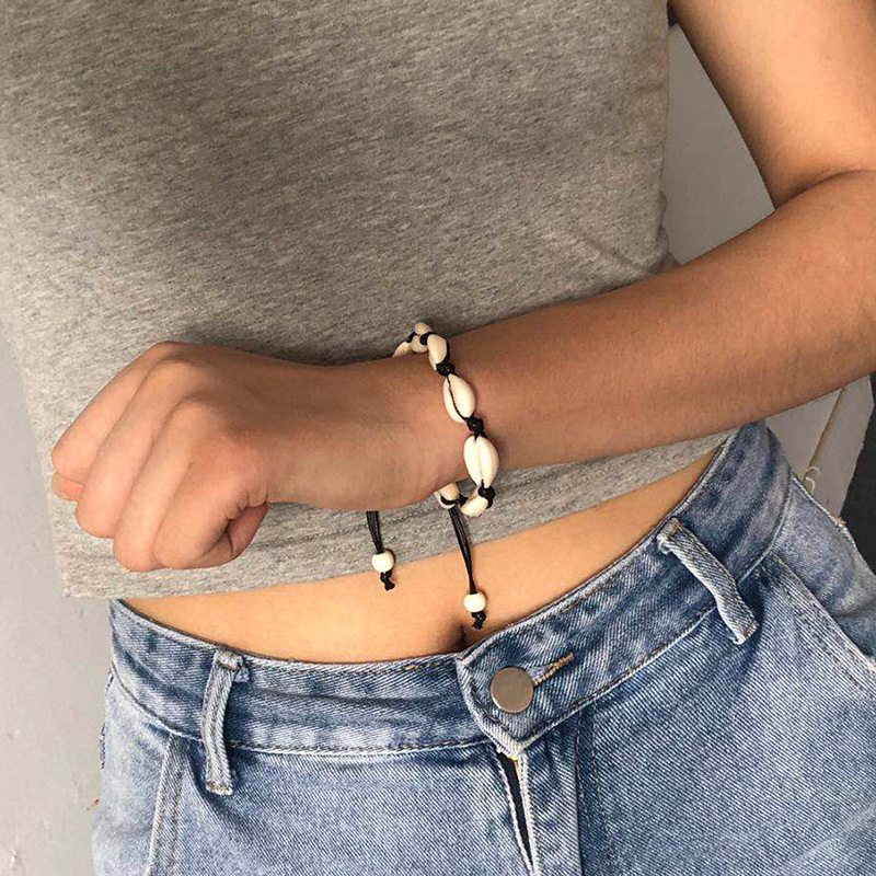 Fashion hand-woven natural shell anklet bracelet NHDP153042