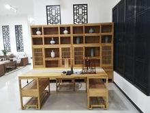 供应陈列柜 新中式老榆木展柜 实木书柜书架 免漆烫蜡博古架