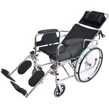 全躺鋁合金輪椅輕便便攜帶坐便多功能折疊輕便超輕老年人手推車