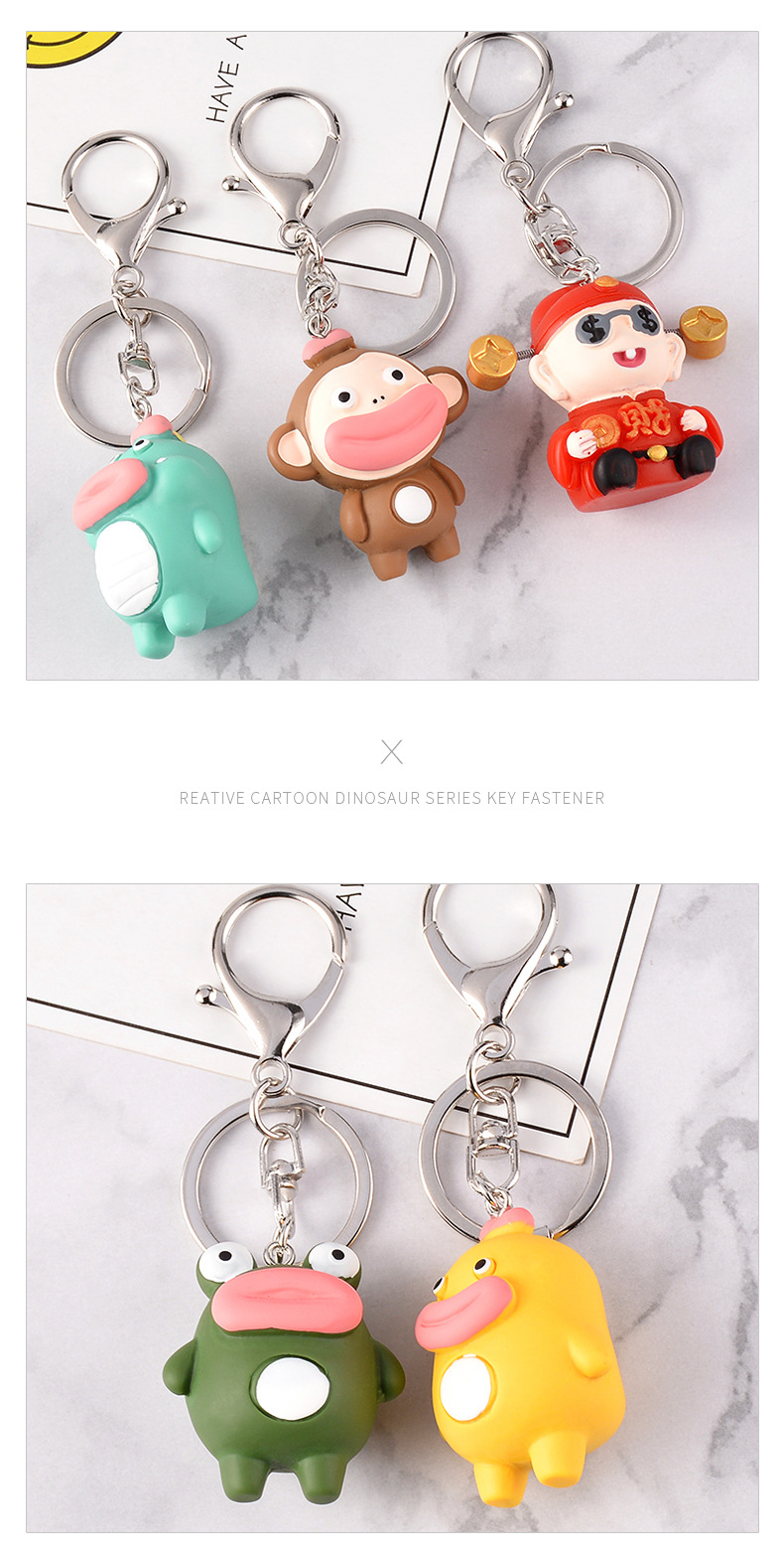 Keychain pendant big mouth duck little frog little fortune little monkey little dinosaur cartoon pendant NHCB199174