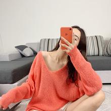 林珊珊馬海毛V領毛衣女寬松bf慵懶風早秋季新款網紅針織衫外套