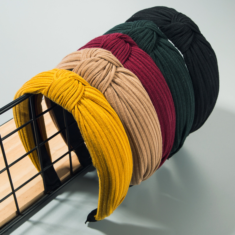 Simple Women's Headband Korean Wide-Edged Wrap Bow Cross Fabric Headband NHLN188270