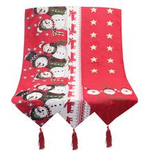 爆款圣诞节装饰用品 棉麻刺绣圣诞桌旗 创意欧式圣诞茶几装饰桌布