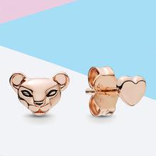 2019夏季新款潘家珠子 s925纯银 欧美热销DIY 公主狮与爱心耳钉