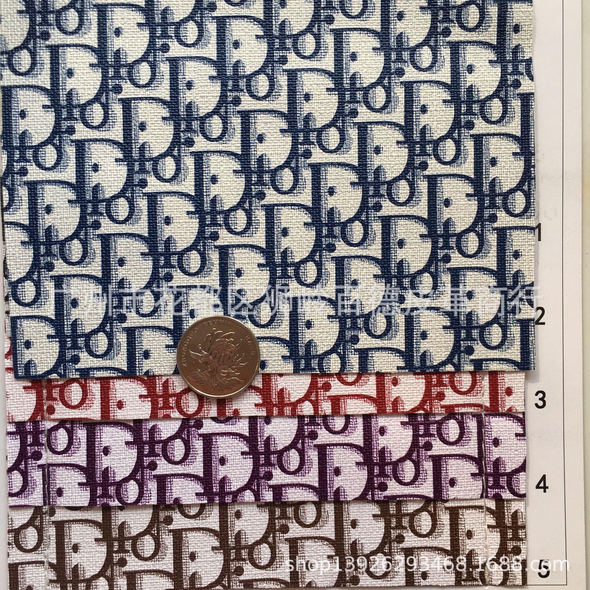 K1290 字母老花料 印花皮革 钱包鞋帽 化妆包袋 人造革仿皮面料