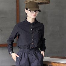 壹旧秋款原创文艺复古学院风宽松撞色黑色纯棉长袖女士衬衫上衣