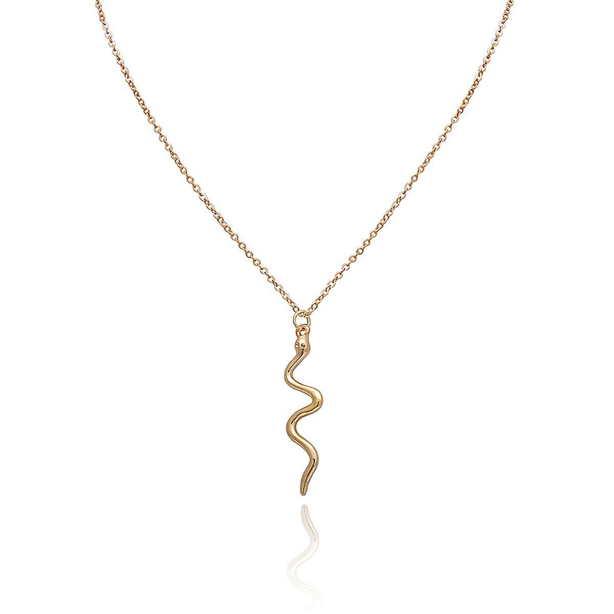 Vintage Serpentine Pendant Curved Geometric Necklace NHXR141811