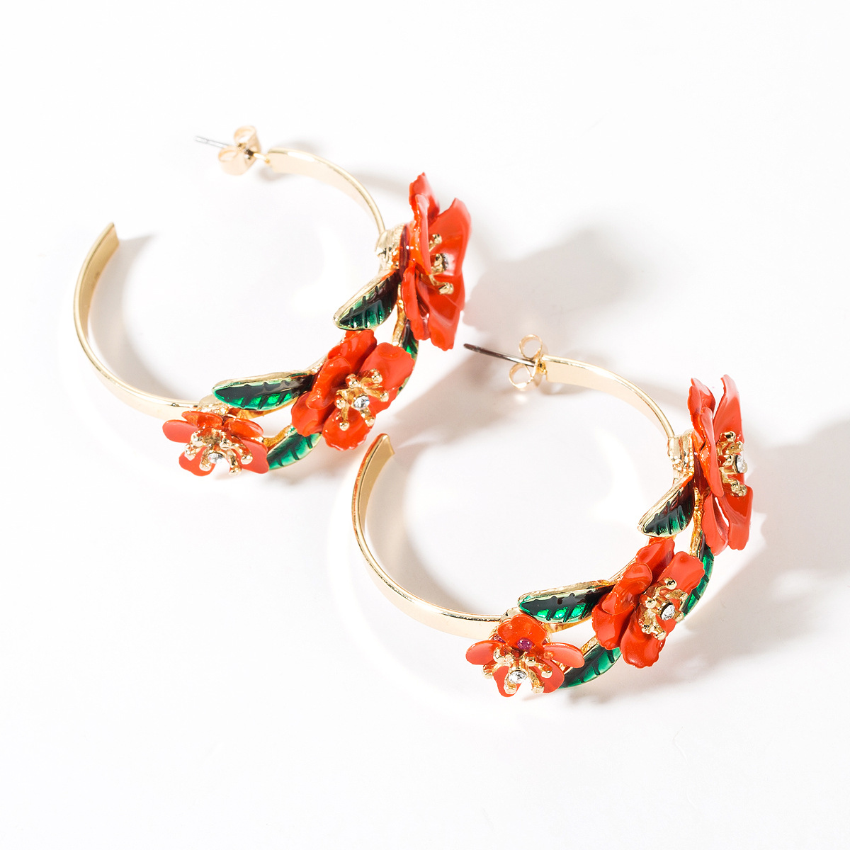 Retro new alloy spray paint flower hoop earrings NHJE149105
