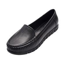 媽媽單鞋女士休閑外穿平底豆豆鞋春秋款女鞋百搭塑料鞋