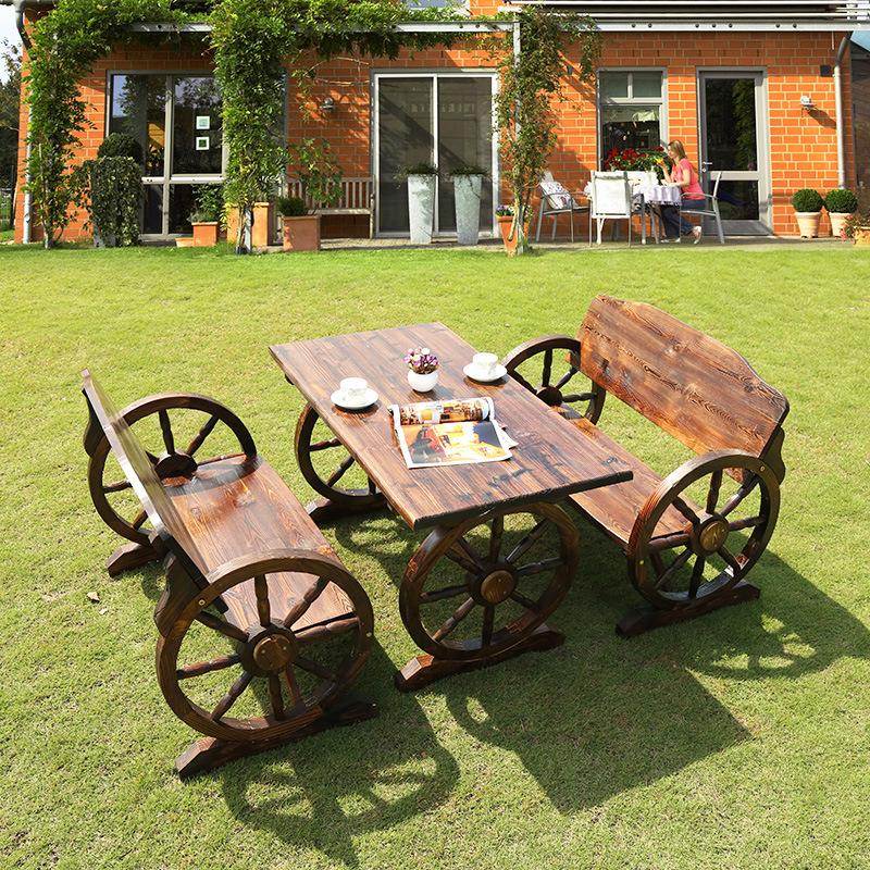 户外桌椅防腐木休闲桌椅庭院阳台实木桌椅三件套车轮炭化花园桌椅
