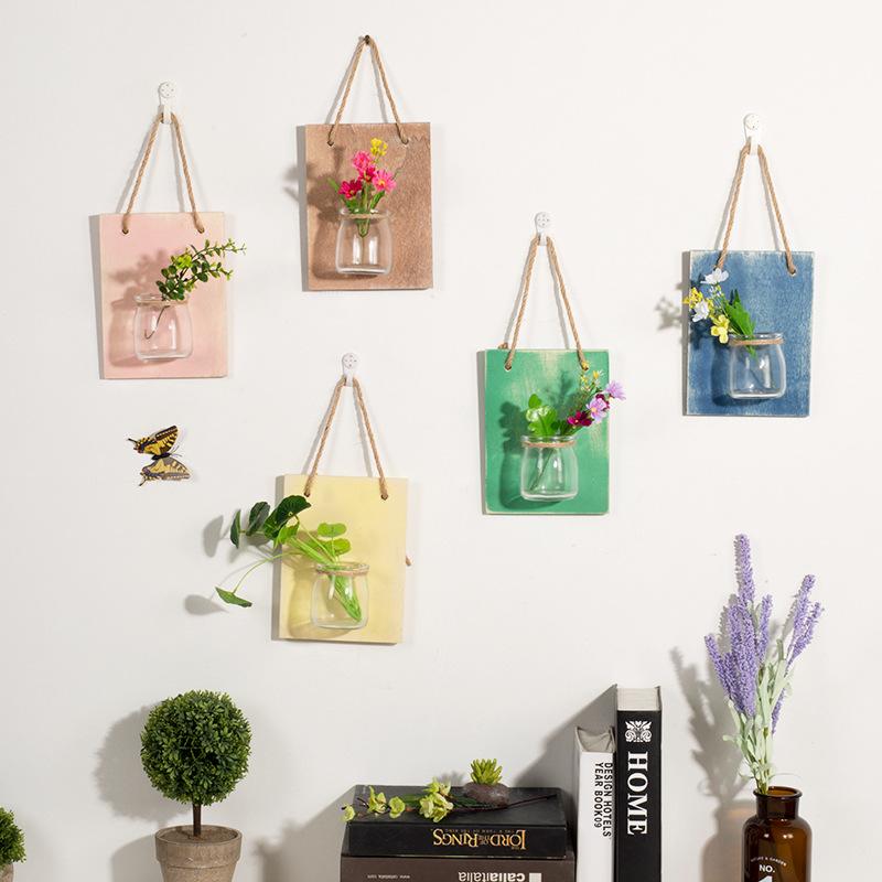 创意欧式悬挂玻璃花瓶墙壁壁挂绿萝透明水培挂式客厅花器挂墙花盆