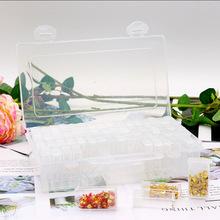 鉆石畫新款大容量飾品防氧化盒蓋美甲收納盒塑料耐摔64格飾品工具