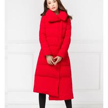 冬季新款棉衣女時尚簡約大紅色長款過膝加厚羽絨棉棉服大翻領棉襖