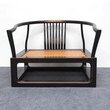 新中式禪椅老榆木黑色實木圈椅單人盤腿打坐椅禪修仿古禪意家具
