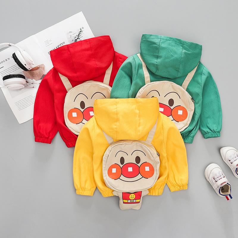 2019秋儿童新款外套男宝宝连帽夹克长袖外衣女童卡通面包超人风衣