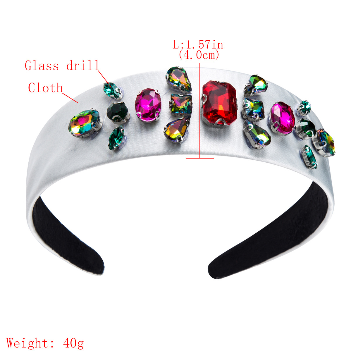 Solid color fabric with diamond headband NHJE157181