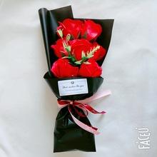 香皂花小花束7朵玫瑰送朋友同学仿真肥皂花假花康乃馨母亲节礼物