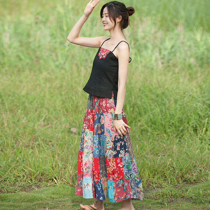 波西米亚风印花半截裙度假风沙滩裙旅拍长裙民族风拼接半身裙批发
