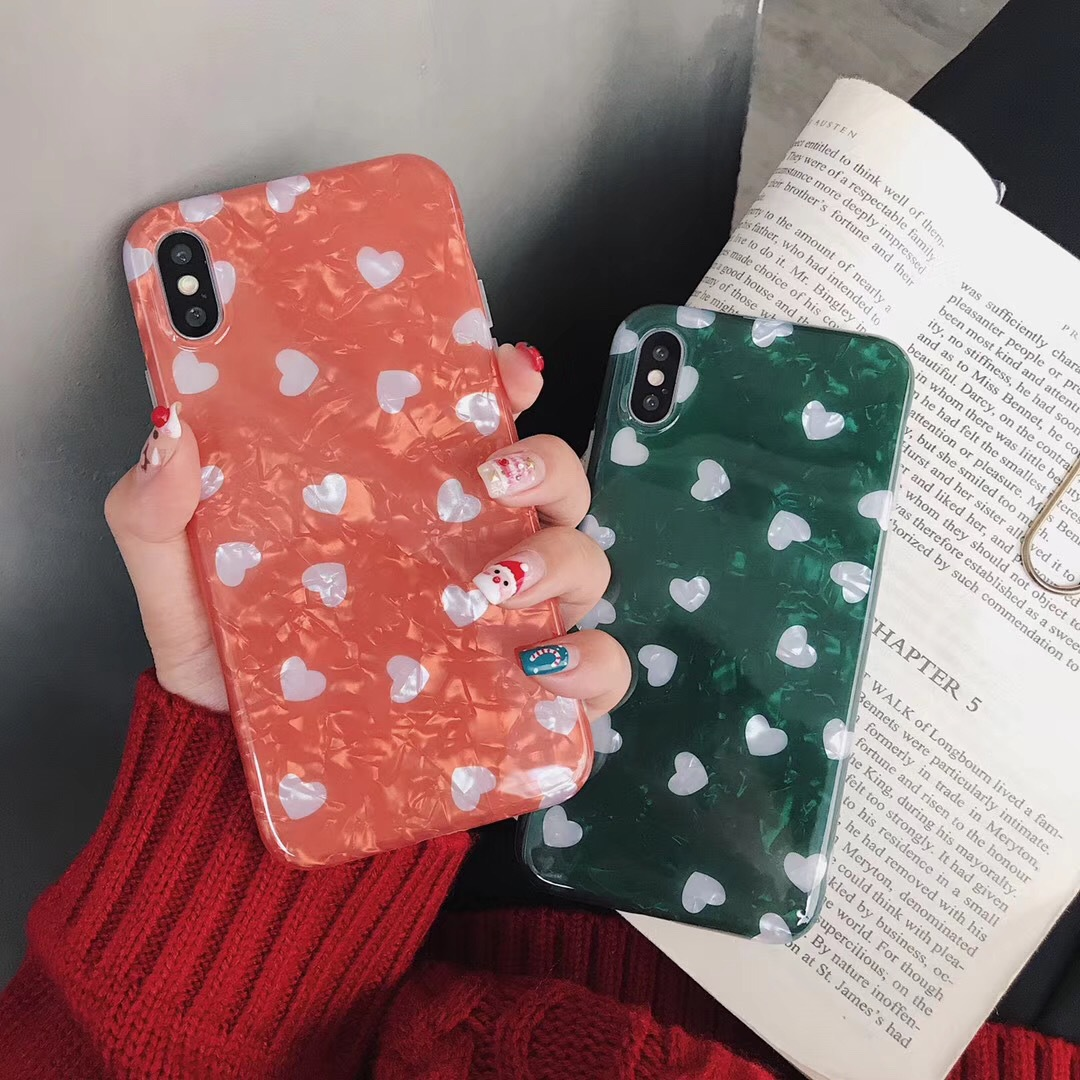 Ins Hanfeng emerald small love for Apple Xs/Max/XR mobile phone shell 7/8plus/6s all-inclusive female models