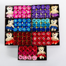 定制12朵玫瑰與小熊肥皂花創意禮品 鮮花包裝材料情人節生日禮物