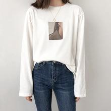 自制 方块耳钉人像长袖T恤 女2019秋季新款 韩版宽松纯棉打底衫