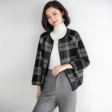 2019秋冬新款女裝新款韓版短款上衣格子毛衣外套寬松針織開衫