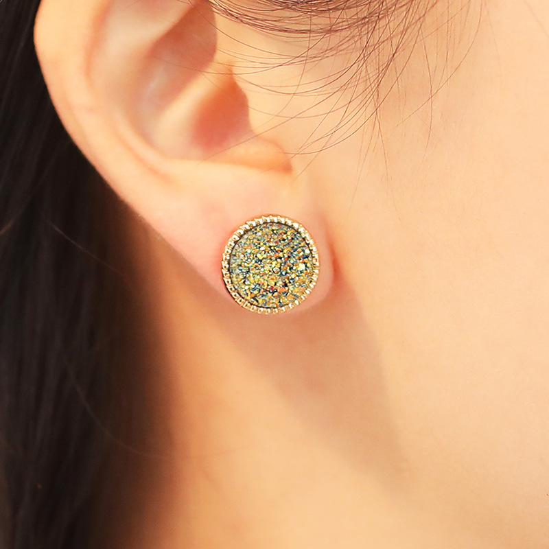 Alloy resin crystal tooth geometry round mineral crystal ear stud NHDP171429