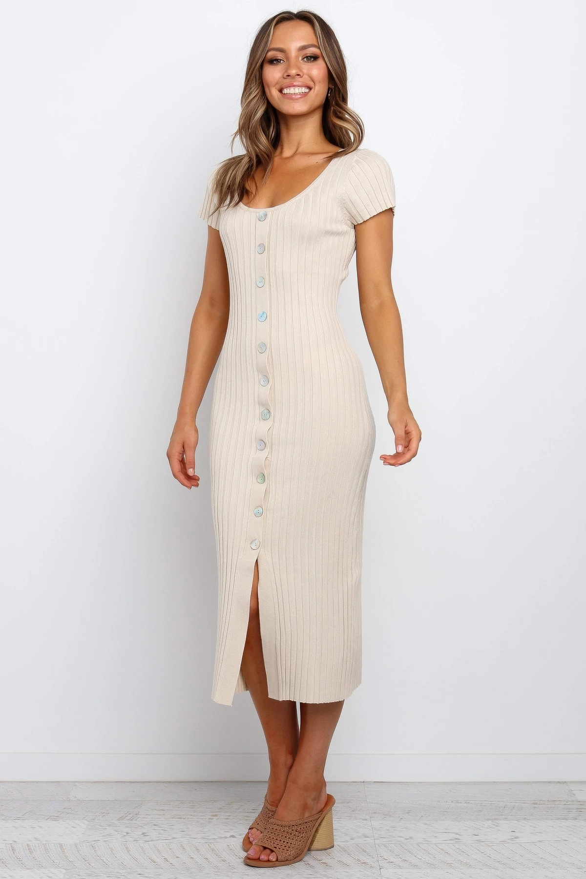 new round neck short sleeve button mid-length knitted temperament dress NSYD4104