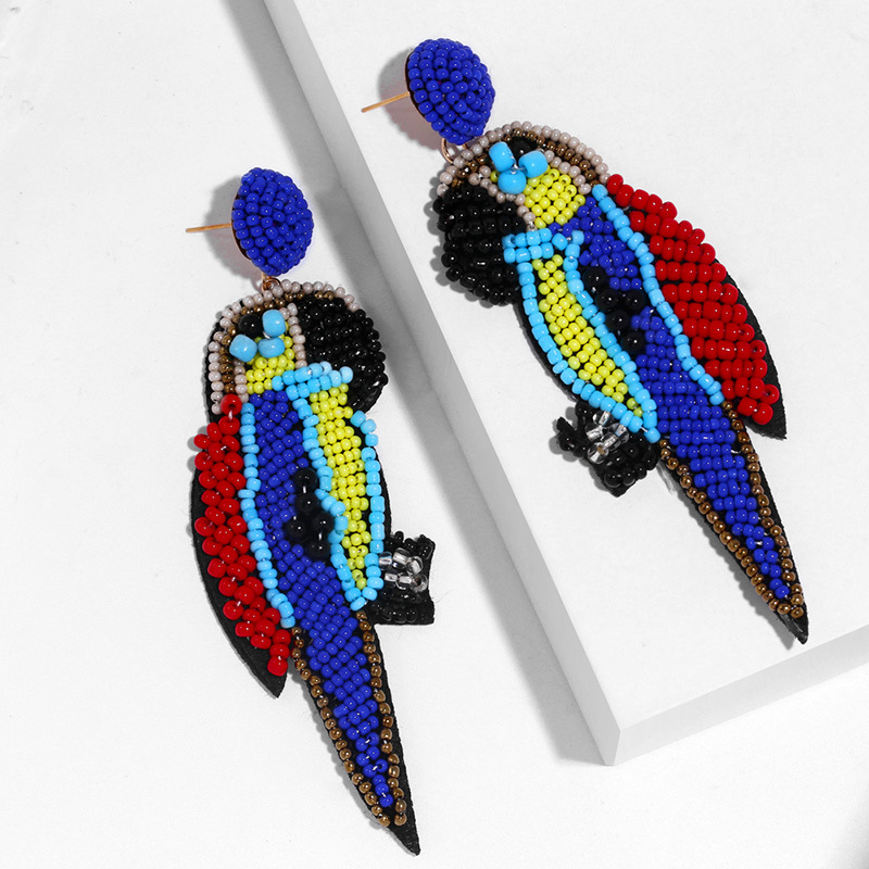 Hand-woven parrot beads earrings NHAS150817