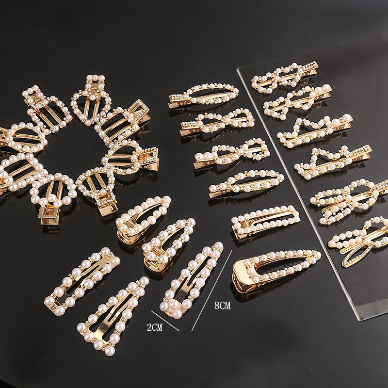 韩国新款珍珠发夹女ins网红一字夹复古水钻夹子头饰简约鸭嘴边夹