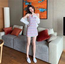 彩虹条纹针织连衣裙韩版新款时尚收腰吊带裙港味修身显瘦短裙子潮