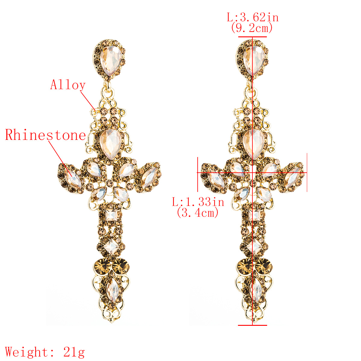 Personalized alloy diamond and rhinestone full diamond S925 silver needle cross earrings NHJE185827