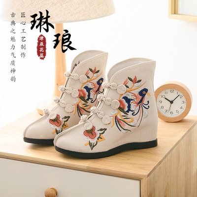 Embroidered boots embroidered shoes dancing women boots high heel women shoes in slope heel national shoes and Han Dynasty shoes