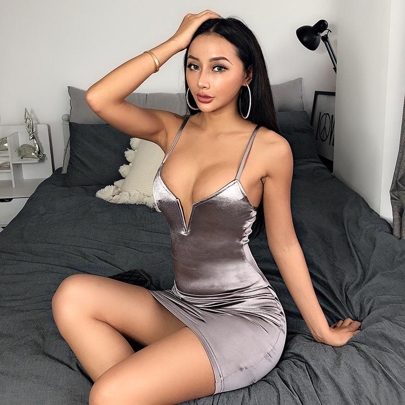 sexy deep V solid color slim high-hip suspender skirt NSFLY62143