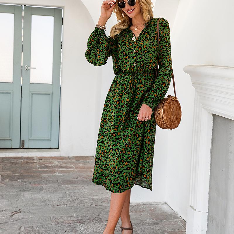 spring and summer women's new leopard print long sleeve mid-length dress WHOLESALE NSKA288